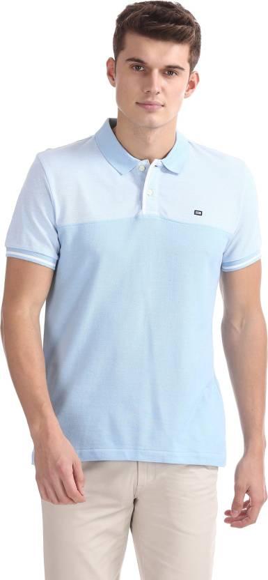 216acdcc Arrow Sport Solid Men Polo Neck Blue T-Shirt - Buy Arrow Sport Solid ...