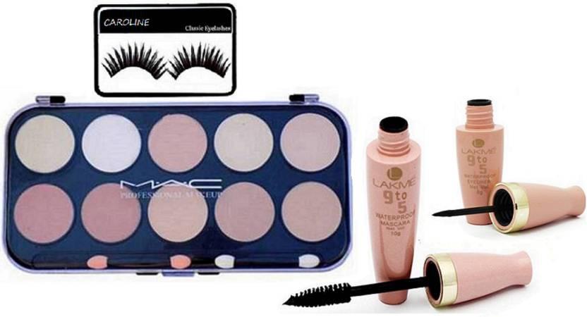 Caroline Eyelashes 10 Shade Concealer Palette Waterproof Eyeliner