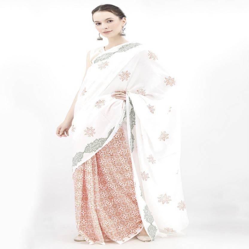34f04d7eb5f052 Buy Tjori Printed Handloom Cotton White Sarees Online   Best Price ...