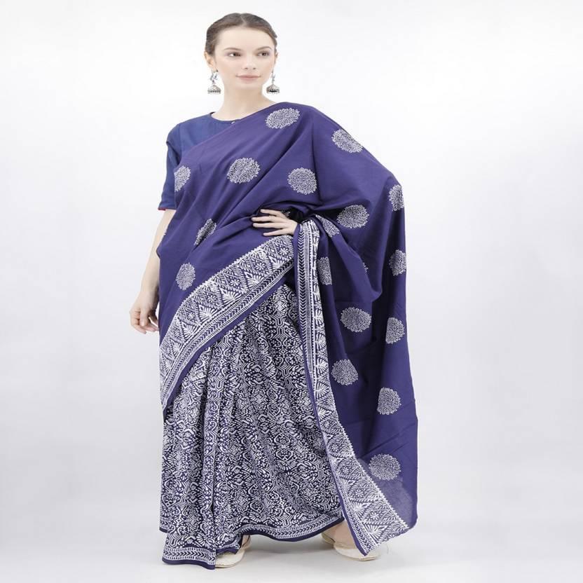 88e98afe1c Buy Tjori Printed Handloom Cotton Blue Sarees Online @ Best Price In ...