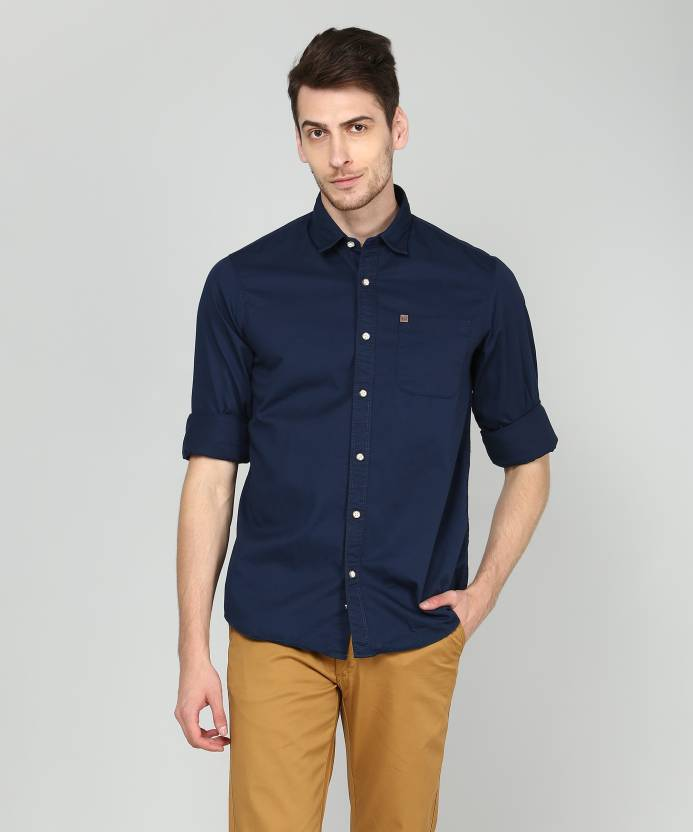 4ef9ecfbe33 ARROW BLUE JEANS CO. Men Solid Casual Dark Blue Shirt - Buy ARROW BLUE JEANS  CO. Men Solid Casual Dark Blue Shirt Online at Best Prices in India