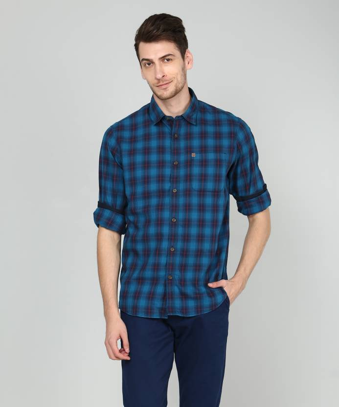 8bbe88cfdd3 ARROW BLUE JEANS CO. Men Checkered Casual Dark Blue Shirt - Buy ARROW BLUE  JEANS CO. Men Checkered Casual Dark Blue Shirt Online at Best Prices in  India ...