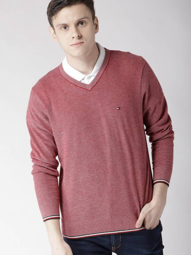 6684f27b Tommy Hilfiger Solid V-neck Casual Men Red Sweater - Buy Tommy ...