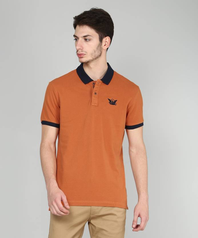 0e8b439d3e ARROW BLUE JEANS CO. Solid Men Polo Neck Orange T-Shirt - Buy ARROW BLUE  JEANS CO. Solid Men Polo Neck Orange T-Shirt Online at Best Prices in India  ...