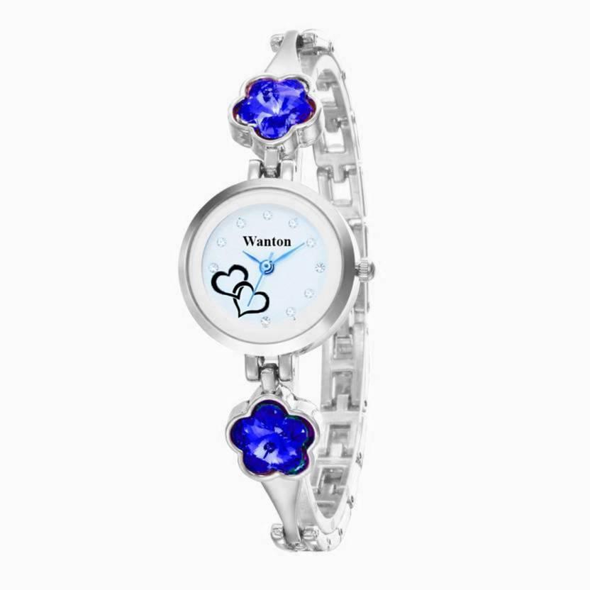 Wanton Silver Ladies Blue Crystal Diamond Watch Women Casual Analog New Rhinestone Silver Gold Saat Love Heart Lady Bracelet Watch For Girls