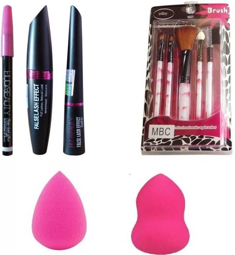 b95558ccc1f jollity Make Up Brush Set Of 5 & Huda Beauty 3 In 1 Kajal,Eyeliner,Mascara  And Two Blender Puff Of high Quality (Set of 3)
