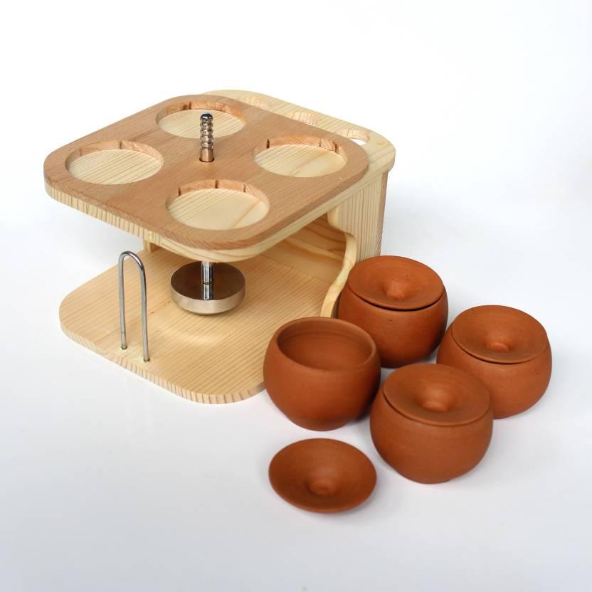Earthenwonder Wooden Dining Table Organizer 5 Piece Salt Pepper Set