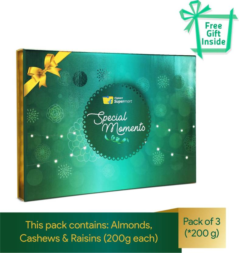 Dry Fruits Gift Box ( Almonds, Cashews, Raisins - 200g each) by Flipkart Supermart Special Moments with 10 pcs Tealight Candles
