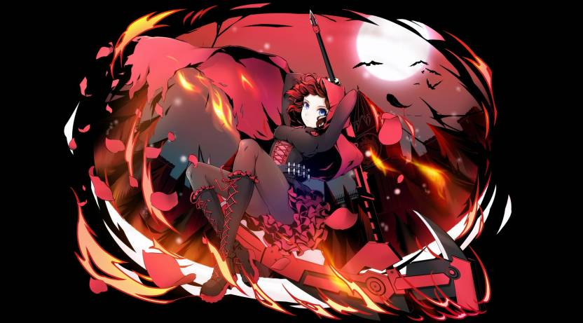 Athah Anime Rwby Ruby Rose Moon Bat Red Hair Scythe 13 19 Inches Wall Poster Matte Finish Paper Print Inch X Rolled