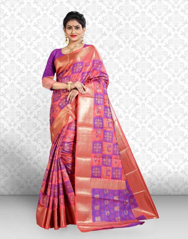 4f7efc8578ef76 Divastri Checkered Patola Silk Saree (Pink