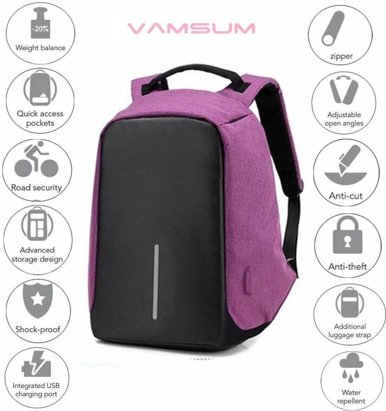 98a4bc6161 Vamsum 15.6 inch Expandable Laptop Backpack Violet - Price in India ...