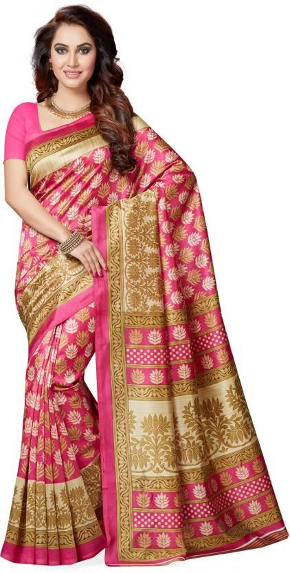 f159bb9750f Buy Ishin Printed Bollywood Art Silk Multicolor Sarees Online   Best ...