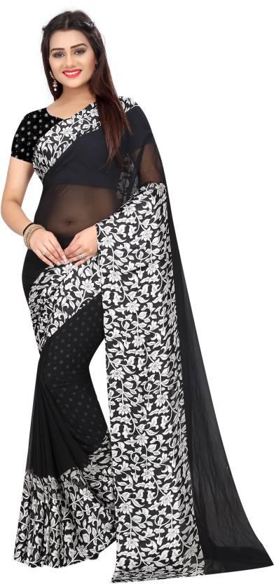 591994180d7304 Buy Radiance Star Printed Daily Wear Georgette Black Sarees Online ...