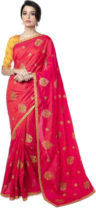4974950e22 Buy Soch Embroidered Fashion Silk Pink Sarees Online @ Best Price In ...