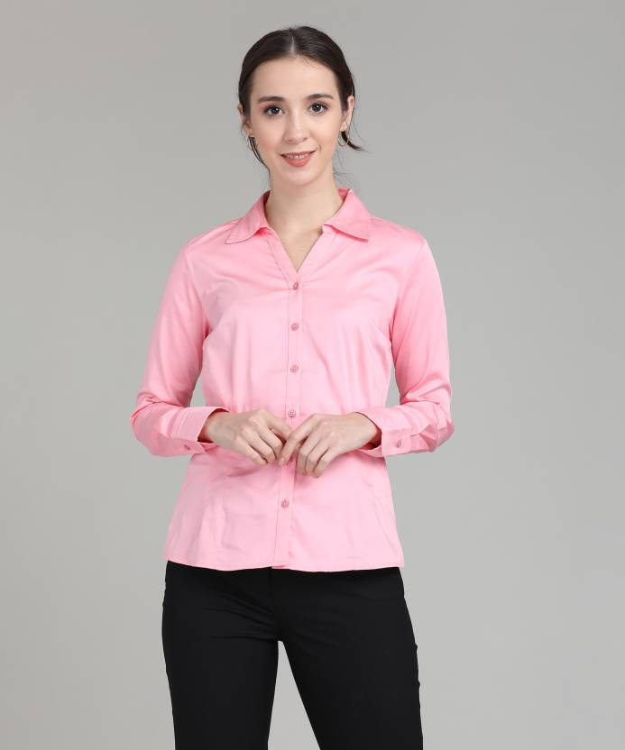 a14d55a2c82f25 Allen Solly Women's Solid Formal Pink Shirt - Buy pink Allen Solly ...