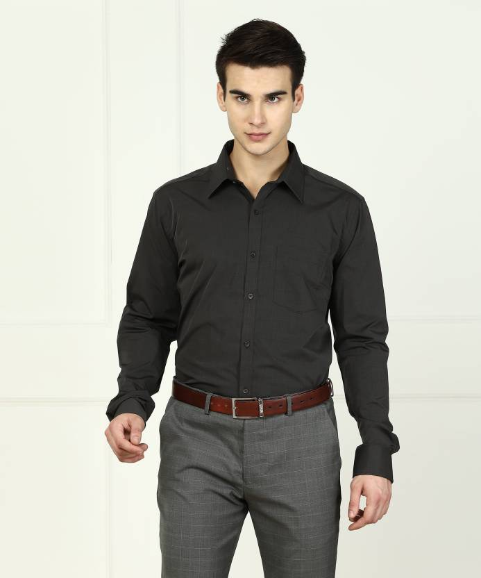 c4f826759 Park Avenue Men s Solid Formal Black Shirt - Buy Grey Park Avenue Men s  Solid Formal Black Shirt Online at Best Prices in India