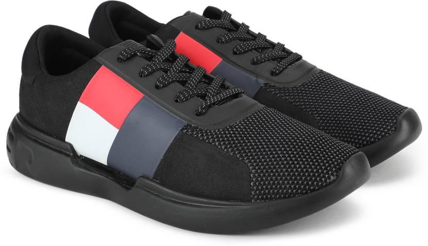 dedf3f6827b3a Tommy Hilfiger LIGHTWEIGHT HILFIGER MENS RUNNER Sneaker For Men (Black)