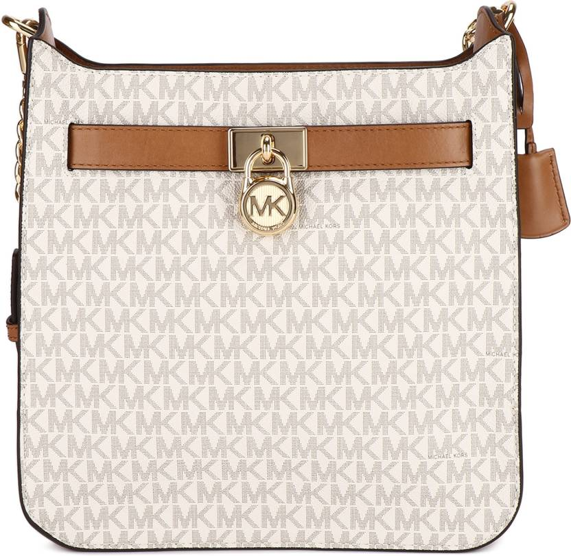 9d29d28a3c64 Michael Kors Women Casual Brown, White Leatherette Sling Bag VANILLA ...