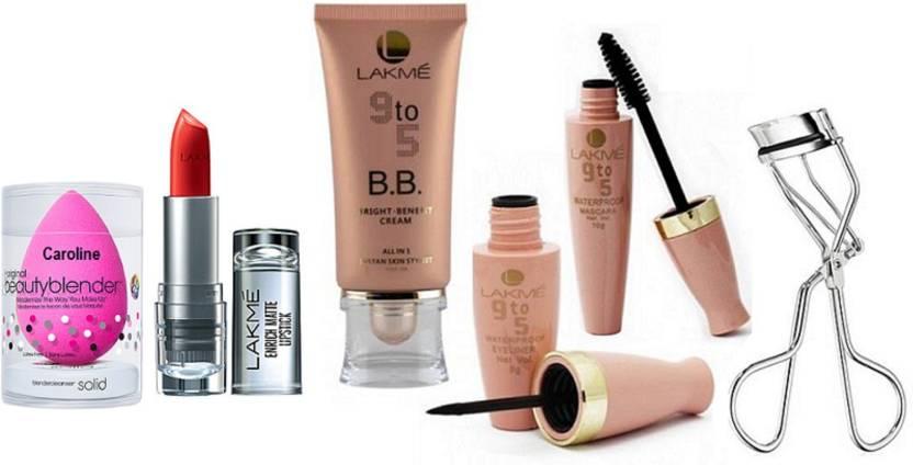 3e2dbe0703 caroline Sponge puff, lakme 9 to 5 B.B. bright benefit all in 1 instan skin  stylist , liquid eyeliner & mascara with eyelash curler& Enrich Matte  Lipstick ...