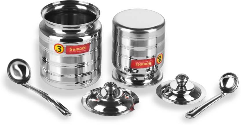 dfdda4d9f Sumeet Stainless Steel Oil and Ghee Pot Set - No. 2 350ML - 6.5cm Dia -  No.3 - 500ML - 7.5cm Dia - 500 ml Steel Oil Container (Pack of 2