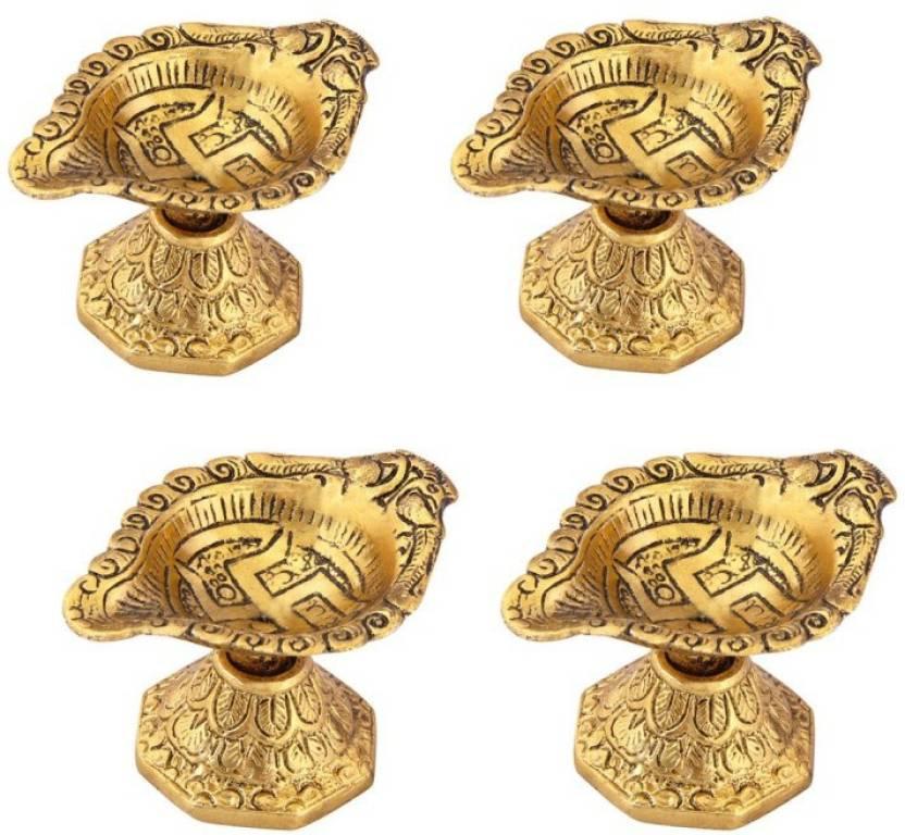 Handicrafts Paradise Diya Set Of 4 Pc In Metal With Swastik Engraved