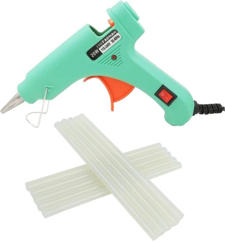 Fadman Turquoise Mini Hot Melt Glue Gun 20 Watt With 10 Adhesive Hot Glue Sticks Standard Temperature Corded Glue Gun