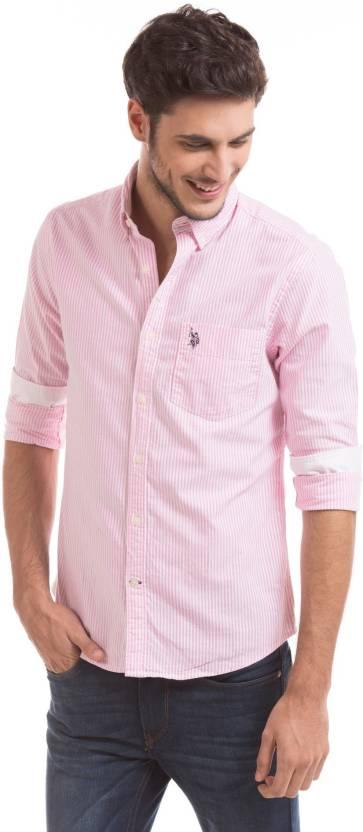 U S Polo Assn Men Striped Casual Pink Shirt Buy Pink U S Polo