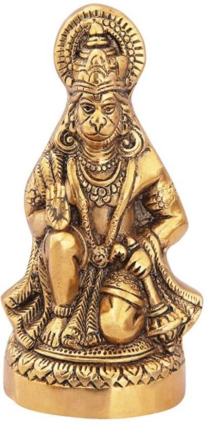 Handicrafts Paradise Hanuman Ji Sitting In Metal Antique Gold Plated