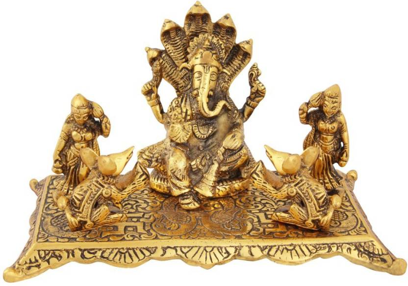 Handicrafts Paradise Ganesha With Riddhi Siddhi And Mouse And A Hole