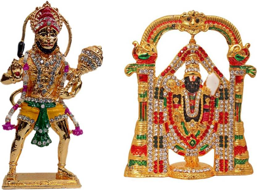 FABZONE Combo of 2 God Tirupati Balaji & Hanuman Car Dashboard Idol