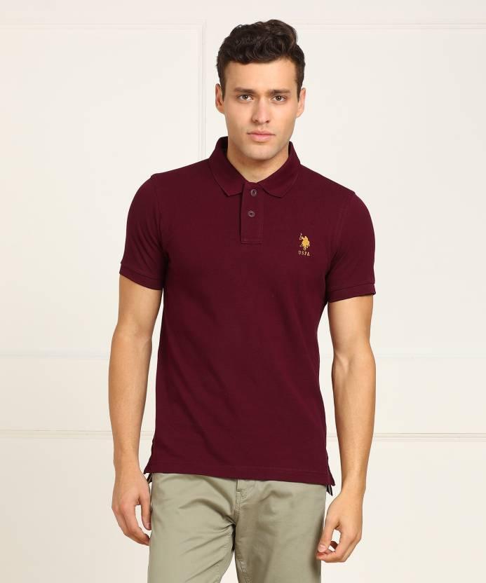 U.S.Polo Association Solid Men s Polo Neck Maroon T-Shirt - Buy U.S. ... 96ffe647e773