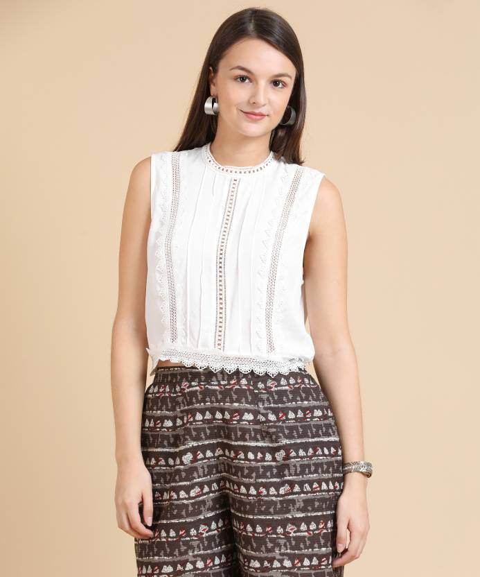 0868bb1bb20bc Forever 21 Casual Sleeveless Lace Women White Top - Buy CREAM ...