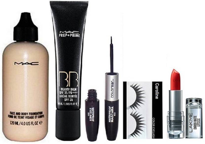 5258b0f098 caroline Eyelashes, Mac Prep+Prime BB Beauty Blam Spf 35 Creme Teintee,  Face and Body Foundation, Colorbar Waterproof Mascara & Eyeliner& Lakme  9to5 Enrich ...