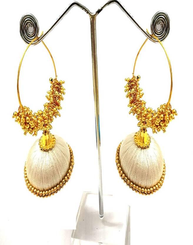 9d8829f87d Flipkart.com - Buy GOELX Silk Thread Designer Loreal Dangle White Earrings  Silk Dori Jhumki Earring Online at Best Prices in India