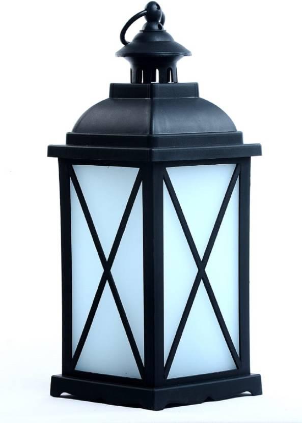Pithadai Decorative Garden Lantern Vintage Style Hanging Lanterns Outdoor Lighting Light Battery Operated Black White Plastic