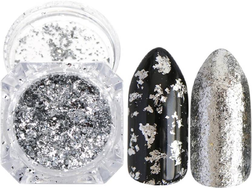Imported Silver Metallic Flakes Mirror Powder Nail Art Chrome Pigment Glitters (Silver)