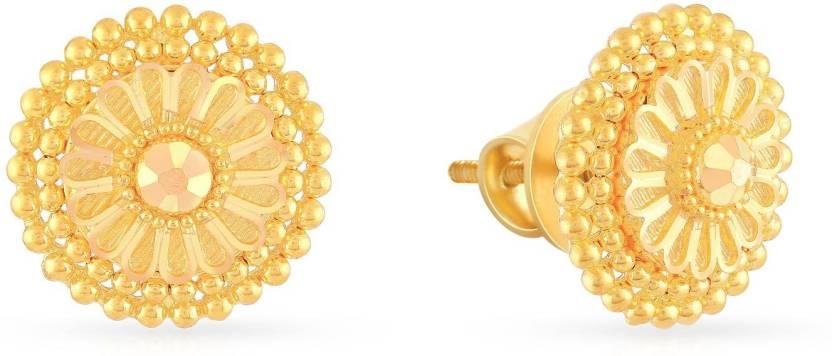 18112242a Malabar Gold and Diamonds MHAAAAAEJLKE Yellow Gold 22kt Stud Earring ...