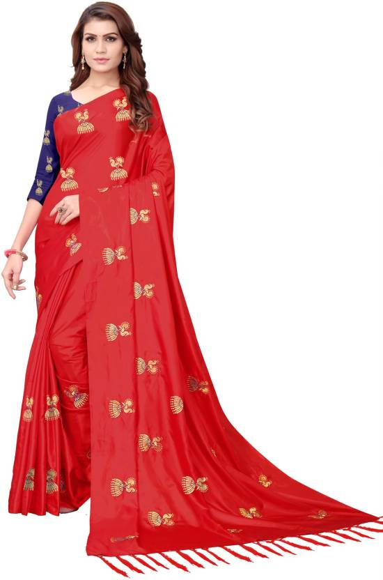 Buy Textilebaba Embroidered Bollywood Silk Red Sarees Online Best