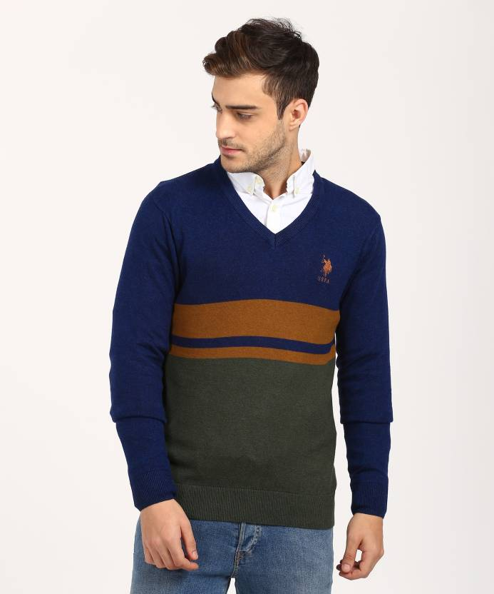 U.S. Polo Assn Striped V-neck Casual Men s Blue Sweater - Buy U.S. Polo Assn  Striped V-neck Casual Men s Blue Sweater Online at Best Prices in India ... 3329f57da