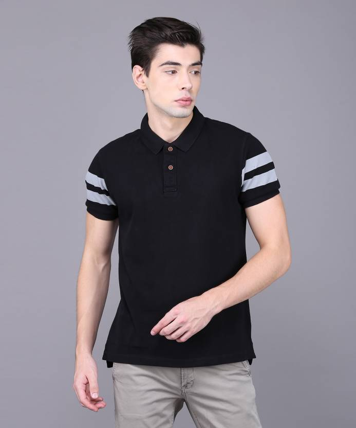 2c42c76f ARROW BLUE JEANS CO. Solid Men Polo Neck Black T-Shirt - Buy ARROW BLUE  JEANS CO. Solid Men Polo Neck Black T-Shirt Online at Best Prices in India  ...