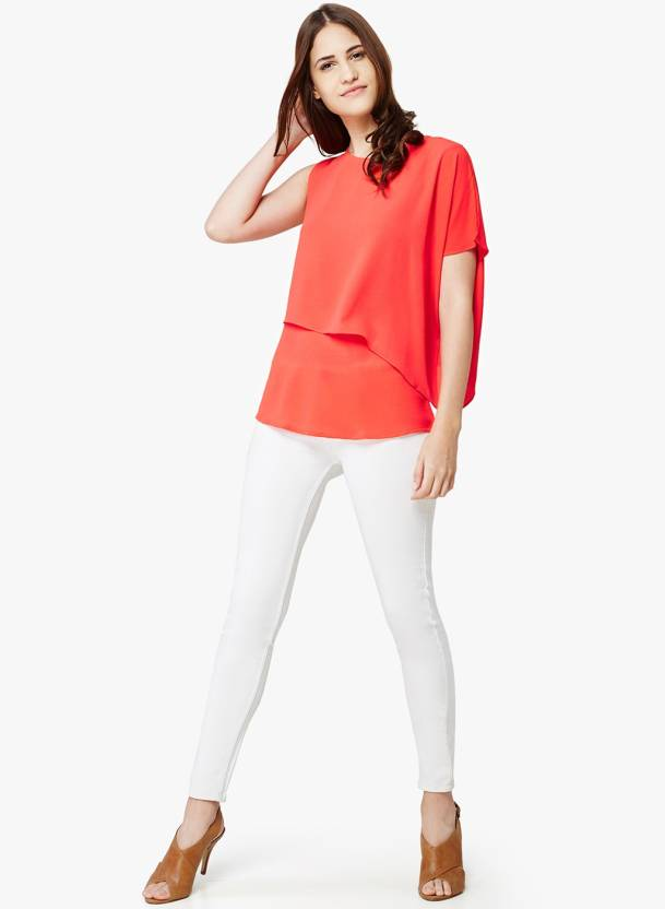0a6c6d015c8 AND Casual Cap Sleeve Solid Women s Red Top - Buy AND Casual Cap Sleeve Solid  Women s Red Top Online at Best Prices in India