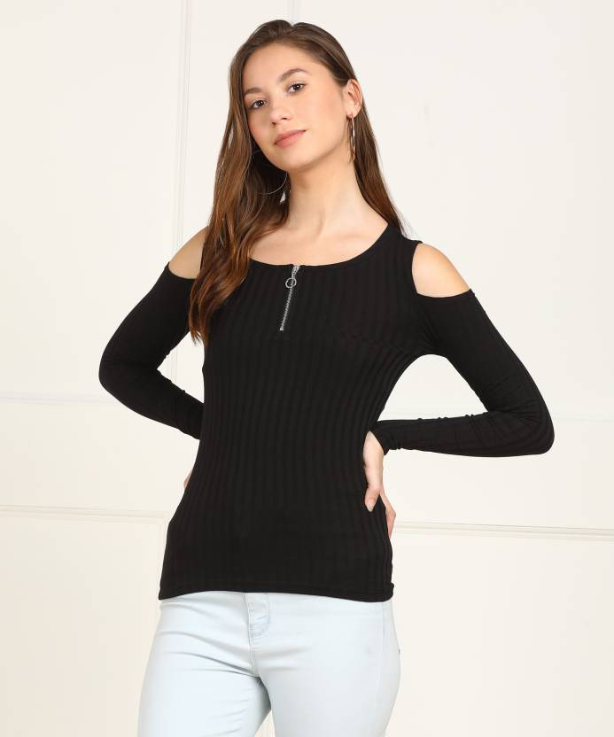 8cabec5ff4b2f Only Casual Cold Shoulder Striped Women s Black Top - Buy Black Only Casual Cold  Shoulder Striped Women s Black Top Online at Best Prices in India ...