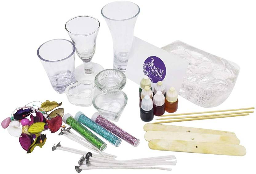 AsianHobbyCrafts Candle Making Kit Contents: Transparent Gel Candle Wax,  Wax Colors, Candle Wicks, Acrylic Candle Container (KIT O)