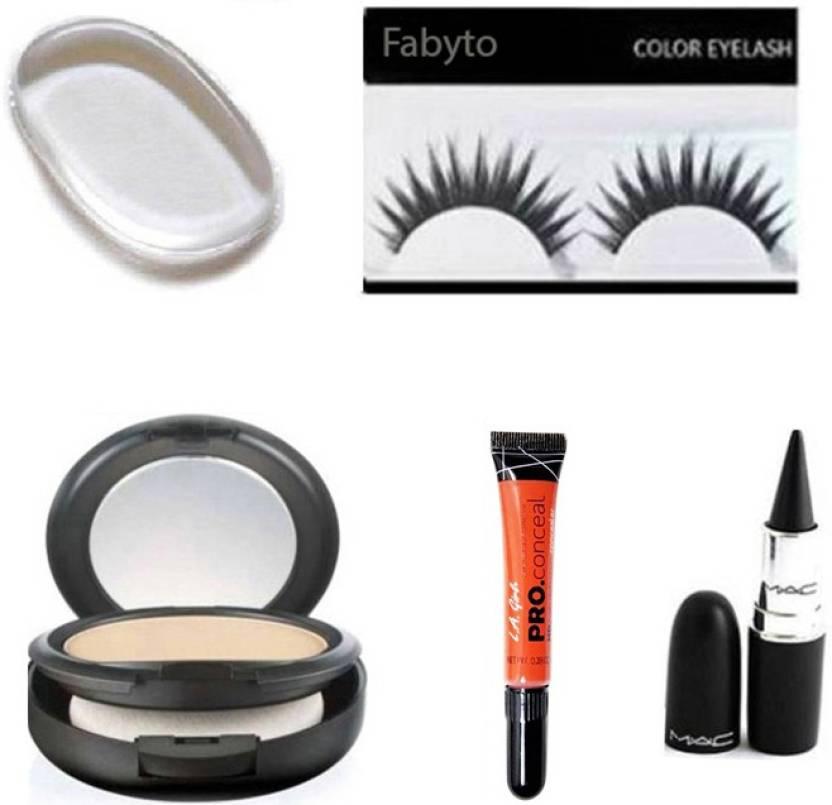 35485b261 fabyto combo set of silicon puff eyelashes compact powder la pro concealer  kajal (Set of 5)
