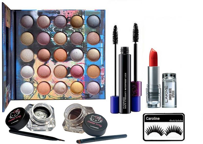 4a4407e8a9 caroline Eyelashes, My Love Eyeshadow Palette, Two Eyeliner, Houte and  Naughty Double Effect Mascara& Lakme 9to5 Enrich Matte Lipstick (Set of 5)