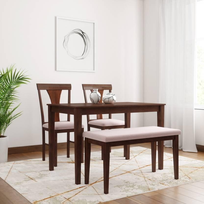 Flipkart Perfect Homes Fraser Solid Wood 4 Seater Dining Set Finish Color   Walnut