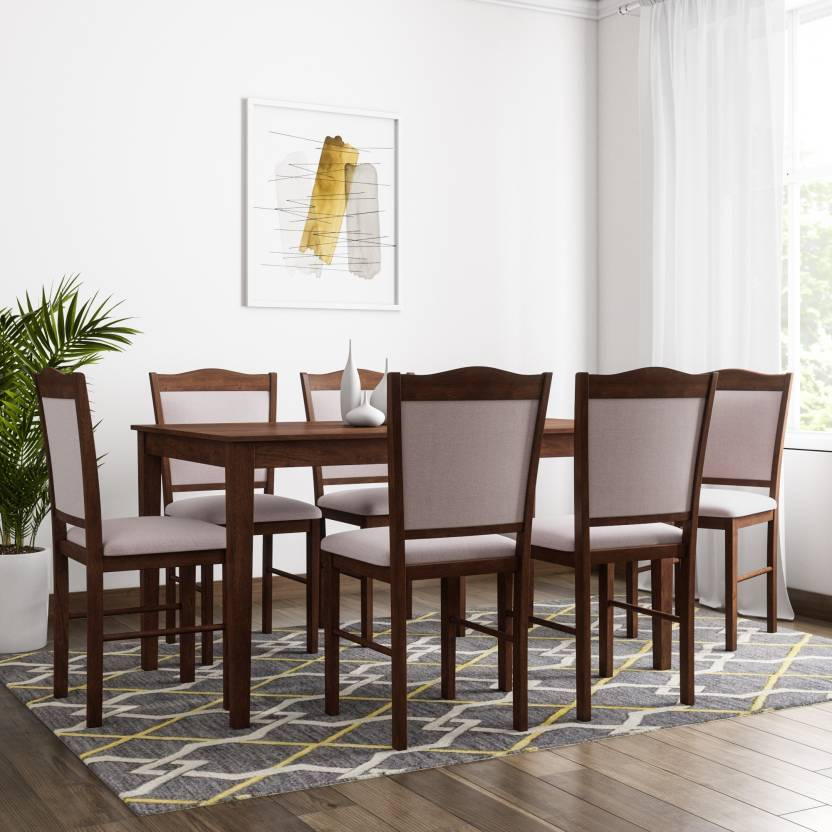 5da20de6a8 Flipkart Perfect Homes Cocos Solid Wood 6 Seater Dining Set (Finish Color -  Walnut)