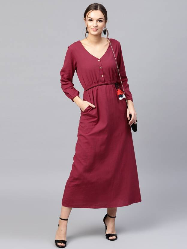 b8aa15289d Sassafras Women's Maxi Maroon Dress - Buy Sassafras Women's Maxi Maroon  Dress Online at Best Prices in India | Flipkart.com