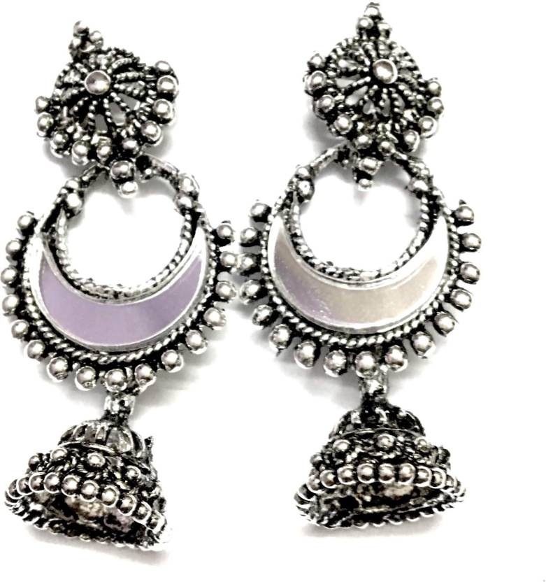 a1002a44c Flipkart.com - Buy Crazytowear OXIDISED GERMAN SILVER WITH AFGHAN MIRROR  JHUMKI EARINGS German Silver Jhumki Earring Online at Best Prices in India