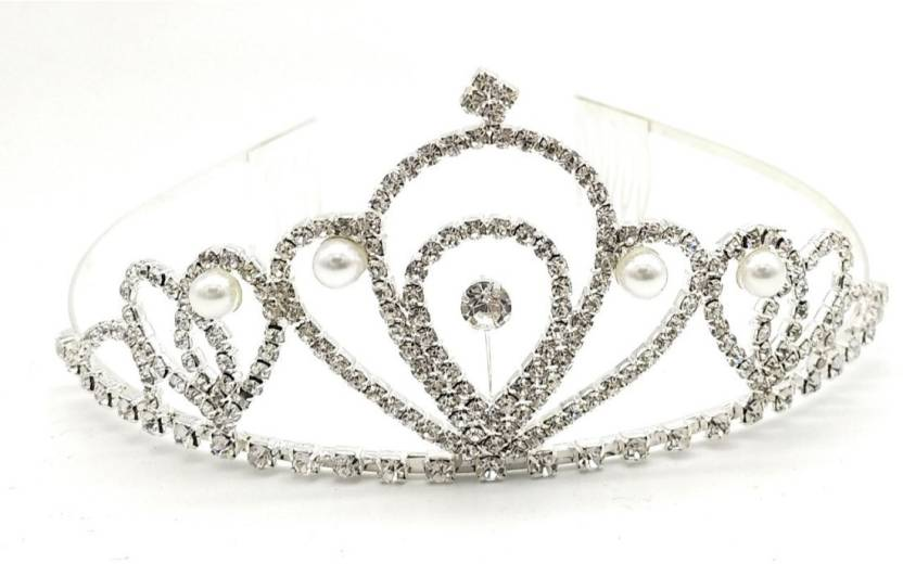 Satyam Kraft Designer Party Wear Hair Accessories Silver Tiara For Women s  And Girl s Crown   Hairband   Tiara Hair Band b3d41f8c70f6